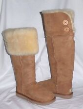 UGG OVER THE KNEE CHESTNUT BAILEY BUTTON CLASSIC SHEEPSKIN BOOTS US8 EU39 NIB