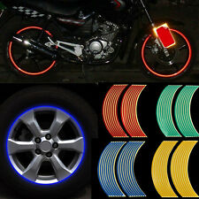 Motorcycle Car Blue Red Reflective RIM Stripe Wheel Decal Tape Sticker 18 Strips