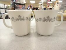 SET of 4 ~ CORELLE CORNING SOLITARY RIBBON BOUQUET COFFEE CUP MUGS