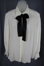 Chanel Auth Women's Ivory Black Neck Tie Button Down Silk Shirt Top Blouse 40 8