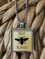 BEE KIND Local Honey Save the Bees Glass Pendant Silver Chain Necklace NEW