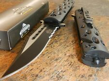 MASTER Spring Assisted Open SAWBACK BOWIE TACTICAL BLACK Rescue Pocket Knife NEW