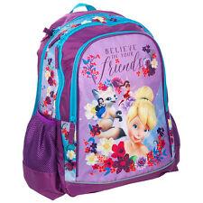 Disney Fairies Mochila Escolar Bolso Gimnasio de viaje de vacaciones Swim Danza Niñas Morado