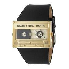 "EOS New York ""Mixtape Gold"" Quartz Acier Inox Montre Cuir Noir Or Unisex"