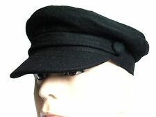 SALE Captain Hat Black Wool Vintage Retro Fiddler Cap Medium 56 cm