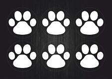 Set 6x sticker decal vinyl car bike laptop bumber animal paw dog cat white