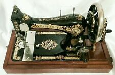 1900 Hand Crank 28k Singer Sewing Machine, Coffin Case & Accessories