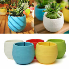1X Cute Round Home Garden Office Decor Planter Plastic Plant Flower Pots 7x6.5cm