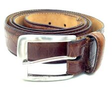 $79 CLUB ROOM Men BROWN GENUINE LEATHER STRAP CASUAL SILVER-BUCKLE BELT SIZE 40