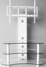 "Corner TV Stand With Bracket 32""- 55"" White Curved Flat Glass Cantilever TV unit"