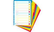 A4+ Extra Wide 10 Part Plastic File Dividers Translucent Bright Colours
