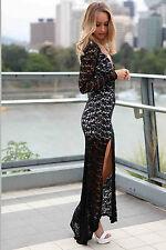 Maxi Abito lungo ricamato pizzo Aderente Spacco Cerimonia Lace Evening Dress
