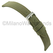 24mm Morellato Padded Stitched Genuine Cordura Canvas Army Green Watch Band