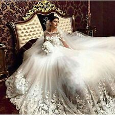 Luxury Wedding Dresses Court Train Appliqued A Line Lace Tulle Long Bridal Gowns