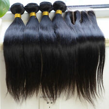 4PCS 8A Brazilian Virgin Human Hair Bundles Plus Closure High Quality Straight