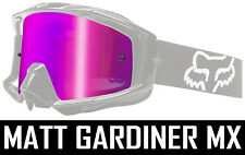 PINK MIRROR LENS to fit FOX MAIN MOTOCROSS GOGGLES tear off chrome new bmx mtb