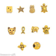 20PCs Gift Mixed Gold Tone European Charms Beads Fit European Charm Bracelet New