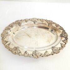 "Vintage/Antique Sheffield Silver on Copper Ornate Serving Plate 13 3/4"" x 9 1/2"""