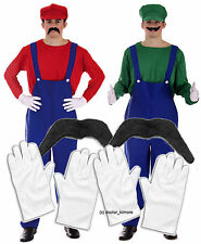 Mario + Luigi Bros 80s Fancy Dress Plumber Workman Outfit 2 x Gloves & Moustache