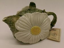 Vtg Omnibus Fitz and Floyd floral DAISY figural hand painted ceramic teapot 42oz
