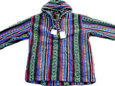 BAJA HOODIE TOGGLE STRIPE JACKET 100% COTTON FESTIVAL HOODIE JERGA HIPPY COAT