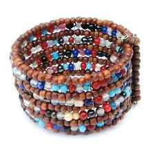 Bracelet Wide Cuff Hand Beaded Wood & Colorful Glass Beads Memory Wire Jewelry