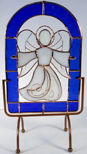 Arched 3-D Stained Glass Panel - Angel Encircled in Blue, FREE STAND