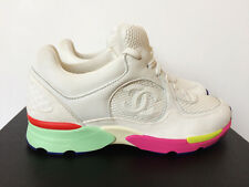 NIB 16C CHANEL MULTI COLOR PINK GREEN WHITE LEATHER SNEAKERS 37 7