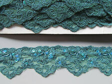 Teal Lace Sequin & Beaded Trim X 1 Metre   Sewing/Costume/Crafts/Goth
