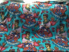 "Fleece fabric Frida Kahlo Folk Hearts Birds Artist on blue, 60""w, sold  BTY"