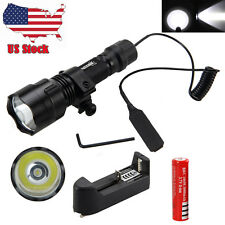 Tactical 5000LM CREE T6 LED Flashlight Torch Hunting Light+1x18650 Charger+Mount