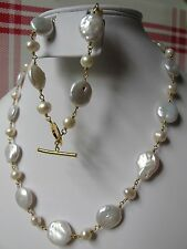 White Freshwater Coin Pearl Bracelet and Necklace Set B&N8
