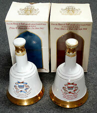 2 PC BELL'S SCOTCH WHISKEY DECANTERS, 1982 & 1984, PRINCE WILLIAM & HENRY, W/BOX