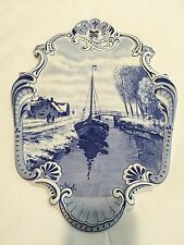 Antique Large Delft Plaque Boat In The Canal RARE MINT CONDITION