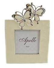 "Moder - SILVER ENAMELED CRYSTAL BUTTERFLY 3"" x 3"" Photo Frame - Free Local Post"