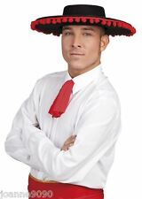 Mens Spanish Mexican Black Matador Bull Fighter Senor Fancy Dress Costume Hat BN