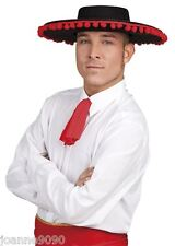 Para Hombre Español Matador Toro Fighter señor mexicano Negro Fancy Dress Costume Sombrero BN