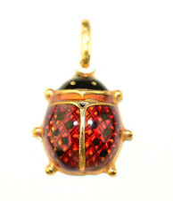 """UNO A ERRE 14K YELLOW GOLD 1"""" RED & BLACK ENAMEL LADYBUG PENDANT FROM ITALY"""