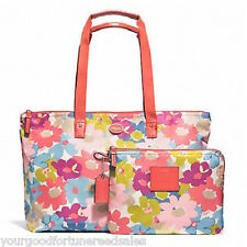 NWT COACH NYLON WEEKEND Shoulder PACKABLE Overnight Flower TOTE F 77321