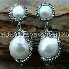 H011714  15x21MM White Keshi Pearl Earrings 925 Silver Stud