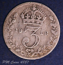 1918 George V 5th KGV Silver 925 Threepence 3d coins [lot4857]