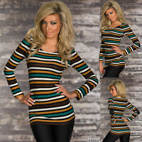 Sexy new women stripe jumper shirt causal ladies top back size 6 8 10 12  S M L