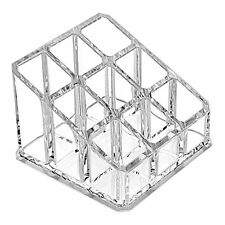 Clear Acrylic Makeup Case and Lipstick or Brush Holder with 9 Compartments
