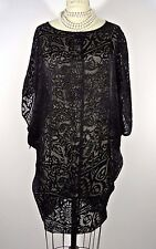 Johnny Was BIYA Boho Black Lace Silk Dress Burnout Velvet S See through Bubble