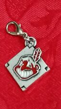 CLEVELAND INDIANS ANTIQUE SILVER CHARM WITH LOBSTER CLASP - BASEBALL - UNBRANDED