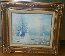 "ANTIQUE STYLE FRAMED 8""x10"" OIL PAINTING LANDSCAPE VICTORIAN LADY BLUE WHITE EUC"