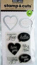 Hello Love You Thank You DC132 Yes Hero Arts Clear Stamp & Cut Die Set NEW!