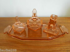 Lovely Art Deco Part  Dressing Table Set Striking Amber Colour Lovely Design