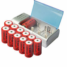 12x D size 13000mAh Rechargeable Battery Ni-MH+ C/D AA Size Univeral Charger