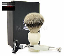 Luxury Gillette Mach3 Razor Shaving Set with Badger silver tip Shaving Brush